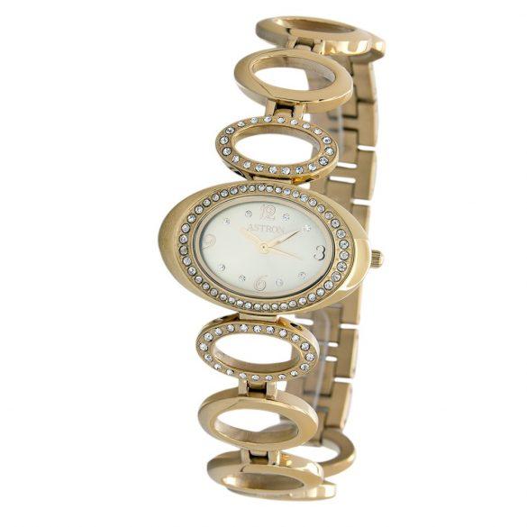 ASTRON 5500-9 női karóra, ékszeróra, arany színű nemesacél tok, arany színű nemesacél csat, pezsgőszínű számlap, keményített ásványüveg, quartz szerkezet, cseppmentes vízállóság