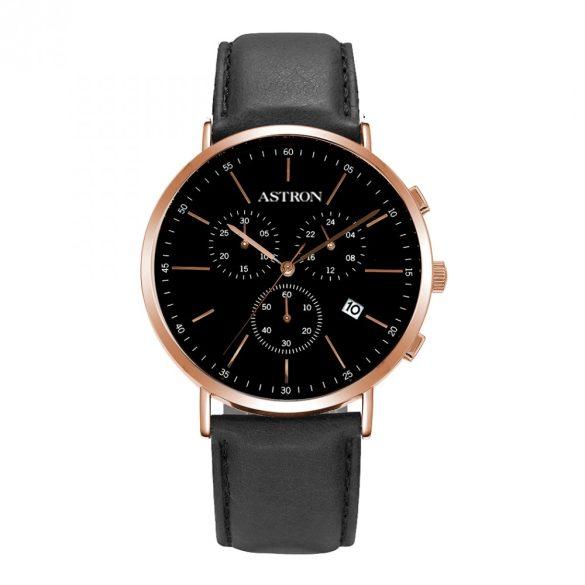 ASTRON 5504-1 férfi karóra, rózsaarany színű nemesacél tok, fekete bőrszíj, fekete számlap, keményített ásványüveg, quartz szerkezet, cseppmentes vízállóság