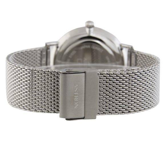 ASTRON 5505-1 analóg férfi|slim karóra, ezüst színű nemesacél tok, ezüst színű nemesacél szíj/csat, fekete számlap, keményített ásványüveg, quartz szerkezet, cseppmentes vízállóság