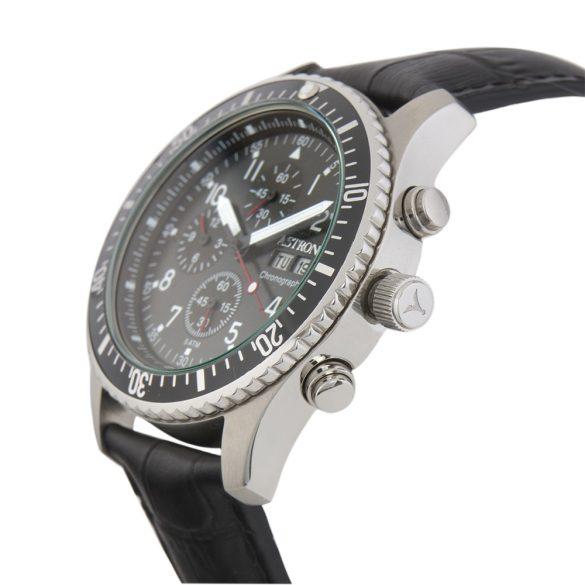 ASTRON 5508-0 férfi karóra, ezüst színű nemesacél tok, fekete bőrszíj, fekete számlap, keményített ásványüveg, chronograph quartz szerkezet, 50 m (5 ATM) vízállóság