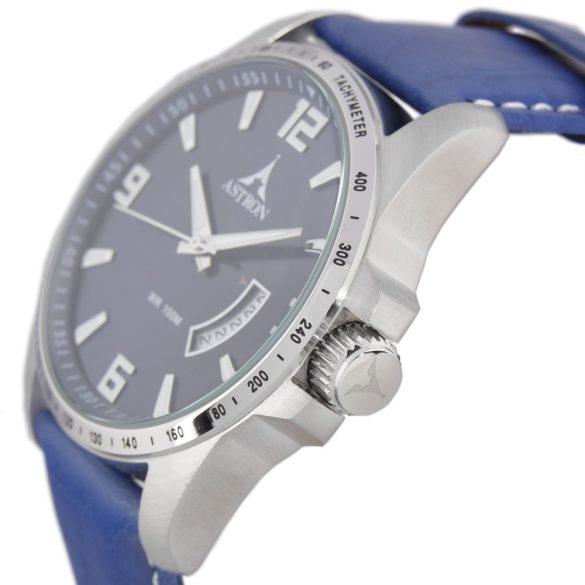ASTRON 5519-2 férfi karóra, ezüst színű nemesacél tok, kék bőrszíj, kék számlap, keményített ásványüveg, quartz szerkezet, 100 m (10 ATM) vízállóság