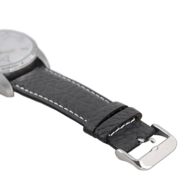 ASTRON 5519-7 férfi karóra, ezüst színű nemesacél tok, fekete bőrszíj, ezüst színű számlap, keményített ásványüveg, quartz szerkezet, 100 m (10 ATM) vízállóság