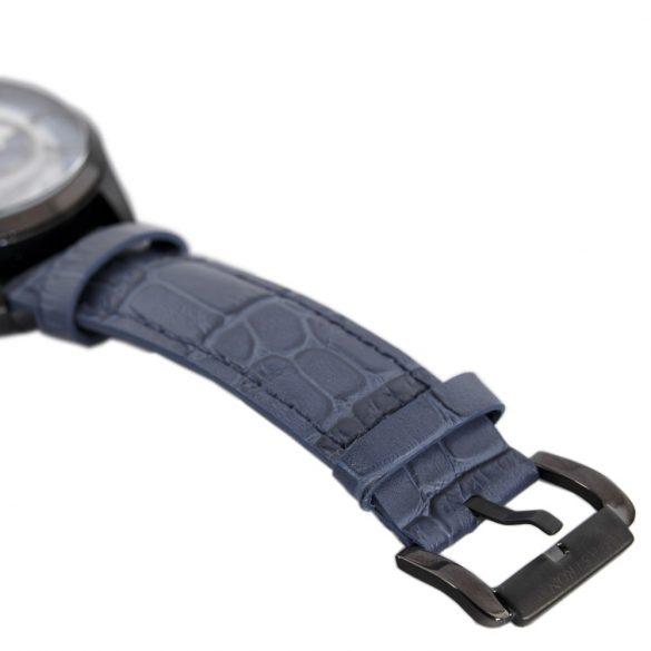 ASTRON 5523-5 analóg férfi karóra, gun (szürke) színű nemesacél tok, kék bőrszíj (valódi) szíj/csat, kék számlap, keményített ásványüveg, quartz szerkezet, 100 m (10 ATM) vízállóság