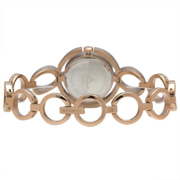 ASTRON 5539-0 női karóra, rózsaarany színű nemesacél tok, arany színű nemesacél csat, ezüst színű számlap, keményített ásványüveg, quartz szerkezet, cseppmentes vízállóság