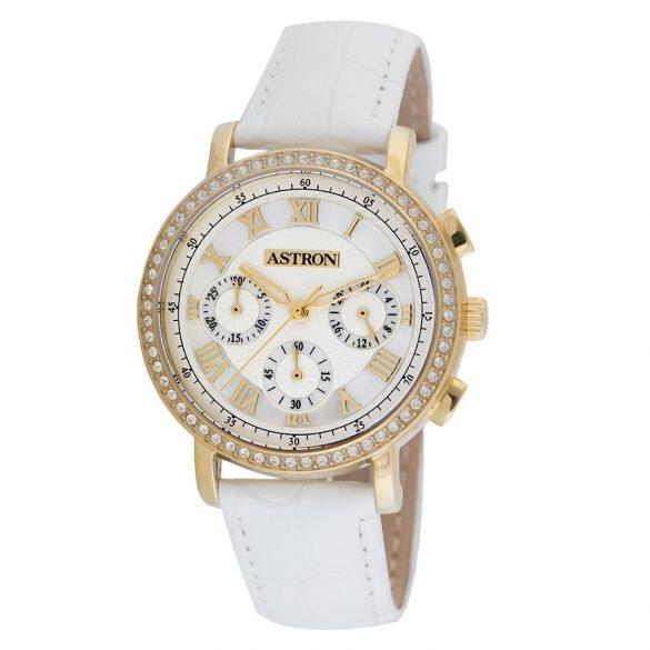 ASTRON 5540-4 analóg divat|női karóra, arany színű nemesacél tok, fehér bőrszíj (valódi) szíj/csat, fehér számlap, keményített ásványüveg, quartz szerkezet, cseppmentes vízállóság