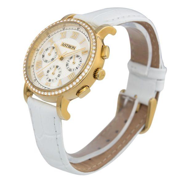 ASTRON 5540-4 divatos női karóra, arany színű nemesacél tok, fehér bőrszíj, fehér számlap, keményített ásványüveg, quartz szerkezet, cseppmentes vízállóság