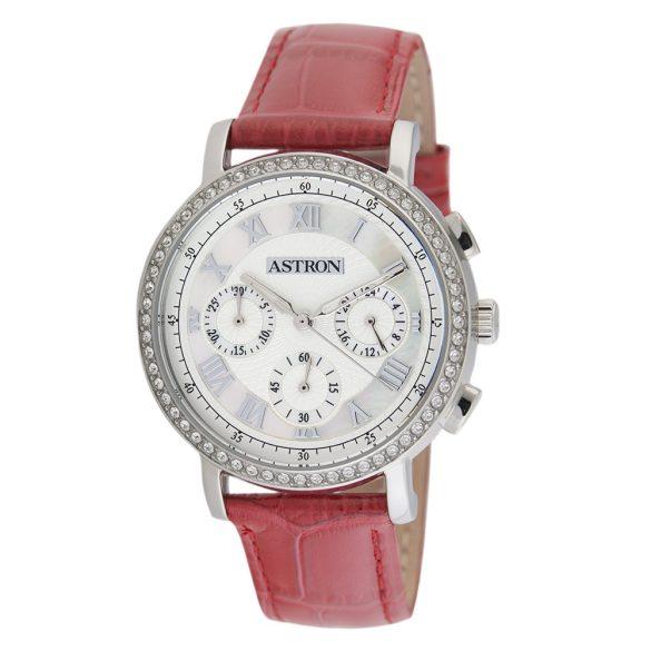 ASTRON 5540-6 divatos női karóra, ezüst színű nemesacél tok, piros bőrszíj, fehér számlap, keményített ásványüveg, quartz szerkezet, cseppmentes vízállóság