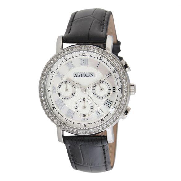 ASTRON 5540-7 divatos női karóra, ezüst színű nemesacél tok, fekete bőrszíj, fehér számlap, keményített ásványüveg, quartz szerkezet, cseppmentes vízállóság