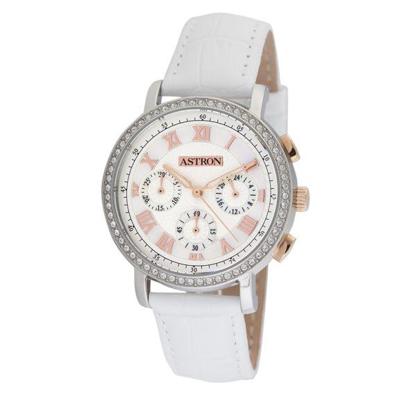 ASTRON 5540-8 divatos női karóra, bicolor nemesacél tok, fehér bőrszíj, fehér számlap, keményített ásványüveg, quartz szerkezet, cseppmentes vízállóság