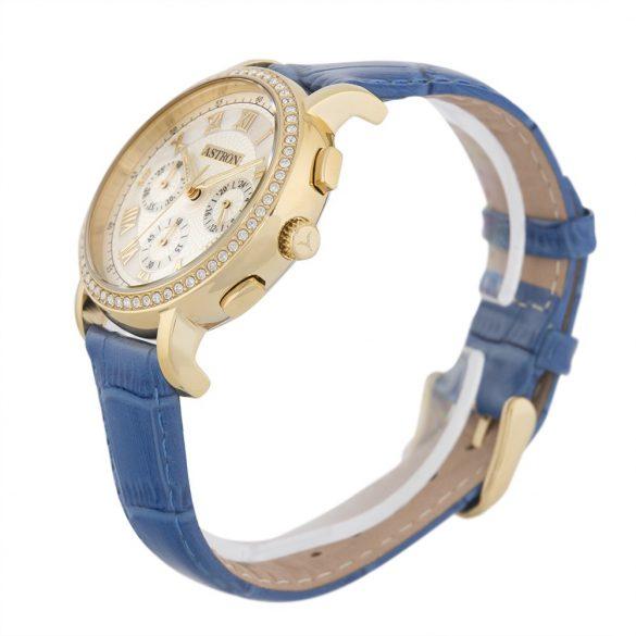 ASTRON 5540-9 analóg divat|női karóra, arany színű nemesacél tok, kék bőrszíj (valódi) szíj/csat, fehér számlap, keményített ásványüveg, quartz szerkezet, cseppmentes vízállóság