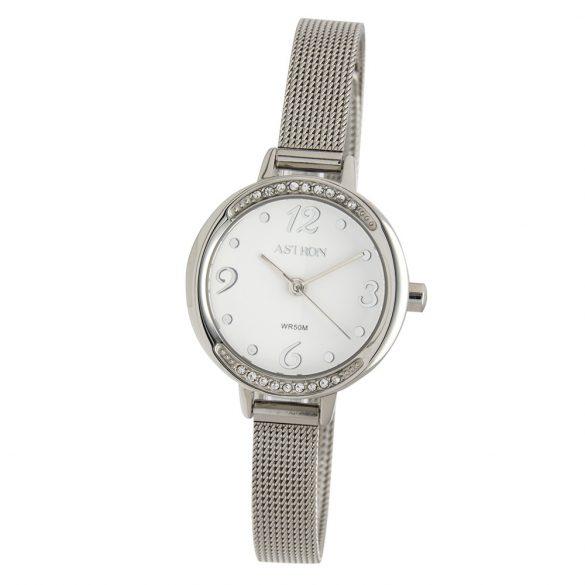 ASTRON 5549-7 analóg női karóra, ezüst színű nemesacél tok, ezüst színű nemesacél szíj/csat, fehér számlap, keményített ásványüveg, quartz szerkezet, 50 m (5 ATM) vízállóság
