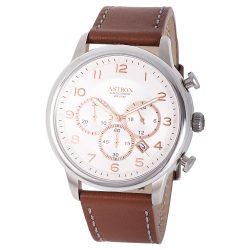 ASTRON 5550-5 elegáns férfi karóra, ezüst színű nemesacél tok, barna bőrszíj, ezüst színű számlap, keményített ásványüveg, chronograph quartz szerkezet, 100 m (10 ATM) vízállóság