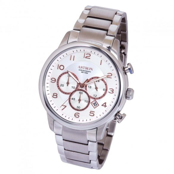 ASTRON 5550-8 férfi karóra, ezüst színű nemesacél tok, ezüst színű nemesacél csat, ezüst színű számlap, keményített ásványüveg, quartz szerkezet, 100 m (10 ATM) vízállóság