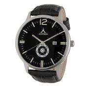 ASTRON 5554-1 férfi karóra, ezüst színű nemesacél tok, fekete bőrszíj, fekete számlap, keményített ásványüveg, quartz szerkezet, 50 m (5 ATM) vízállóság