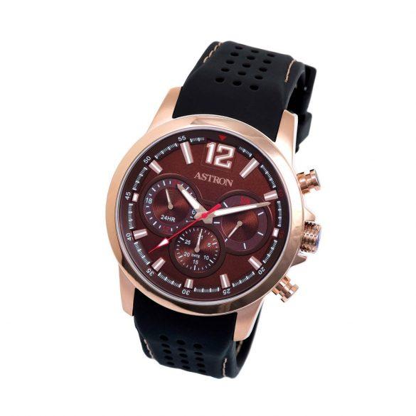 ASTRON 5556-5 férfi karóra, rózsaarany színű nemesacél tok, barna szilikon szíj, barna számlap, keményített ásványüveg, quartz szerkezet, 50 m (5 ATM) vízállóság