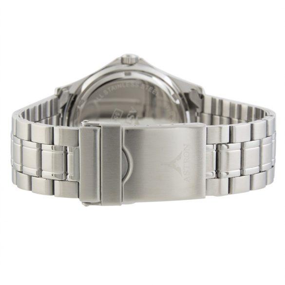 ASTRON 5558-1 sportos férfi karóra, ezüst színű nemesacél tok, ezüst színű nemesacél csat, fekete számlap, keményített ásványüveg, quartz szerkezet, 50 m (5 ATM) vízállóság