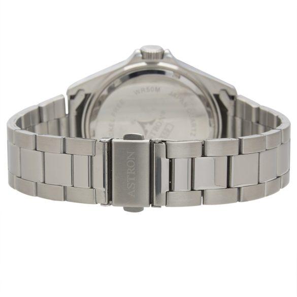 ASTRON 5559-1 analóg férfi karóra, ezüst színű nemesacél tok, ezüst színű nemesacél szíj/csat, fekete számlap, keményített ásványüveg, quartz szerkezet, 50 m (5 ATM) vízállóság