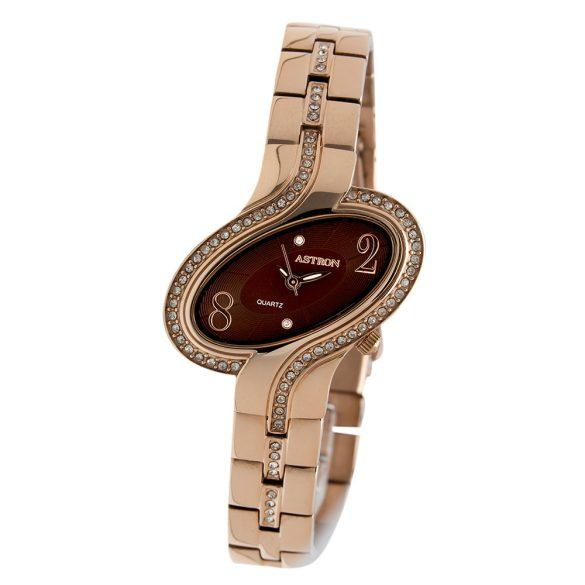 ASTRON 5593-5 női karóra, rózsaarany színű nemesacél tok, arany színű nemesacél csat, barna számlap, keményített ásványüveg, quartz szerkezet, cseppmentes vízállóság