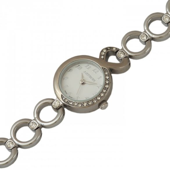 ASTRON 5606-7 analóg női karóra, ezüst színű fém tok, ezüst színű fém szíj/csat, fehér számlap, keményített ásványüveg, quartz szerkezet, cseppmentes vízállóság