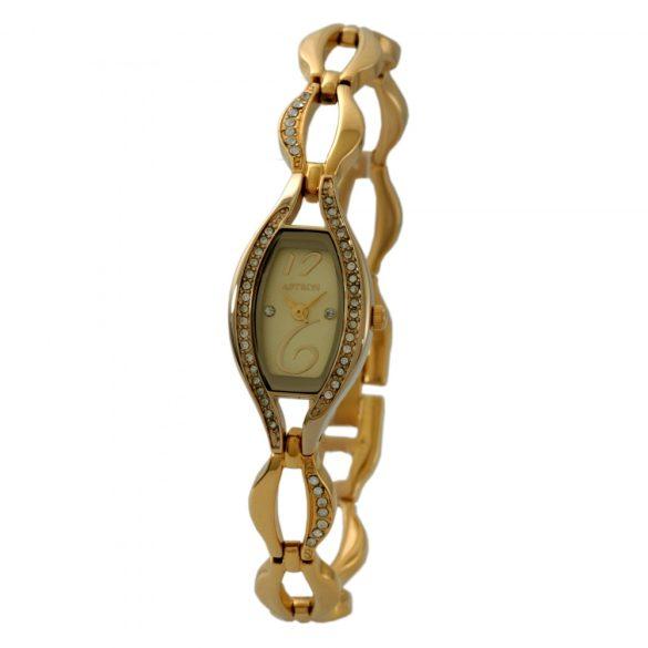 ASTRON 5608-9 női karóra, arany színű fém tok, arany színű fémcsat, pezsgőszínű számlap, keményített ásványüveg, quartz szerkezet, cseppmentes vízállóság