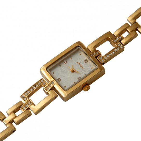 ASTRON 5609-8 analóg női karóra, arany színű fém tok, arany színű fém szíj/csat, fehér számlap, keményített ásványüveg, quartz szerkezet, cseppmentes vízállóság
