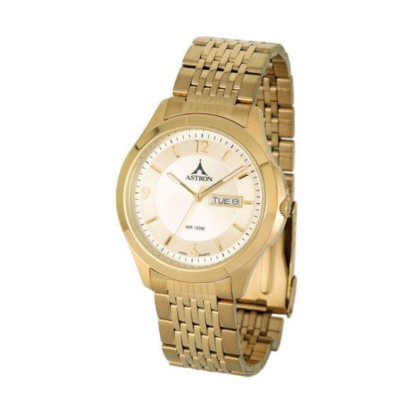 ASTRON 5646-9 férfi karóra, arany színű nemesacél tok, arany színű nemesacél csat, pezsgőszínű számlap, keményített ásványüveg, quartz szerkezet, 100 m (10 ATM) vízállóság