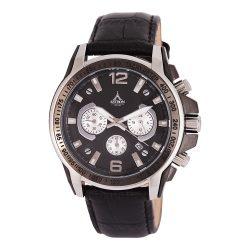 ASTRON 5652-5 sportos férfi karóra, ezüst és fekete színű nemesacél tok, fekete bőrszíj, fekete számlap, keményített ásványüveg, chronograph quartz szerkezet, 50 m (5 ATM) vízállóság