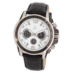 ASTRON 5652-6 sportos férfi karóra, ezüst és fekete színű nemesacél tok, fekete bőrszíj, fehér számlap, keményített ásványüveg, chronograph quartz szerkezet, 50 m (5 ATM) vízállóság