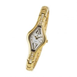 ASTRON 5710-8 női karóra, arany színű nemesacél tok, arany színű fémcsat, fehér számlap, keményített ásványüveg, quartz szerkezet, cseppmentes vízállóság