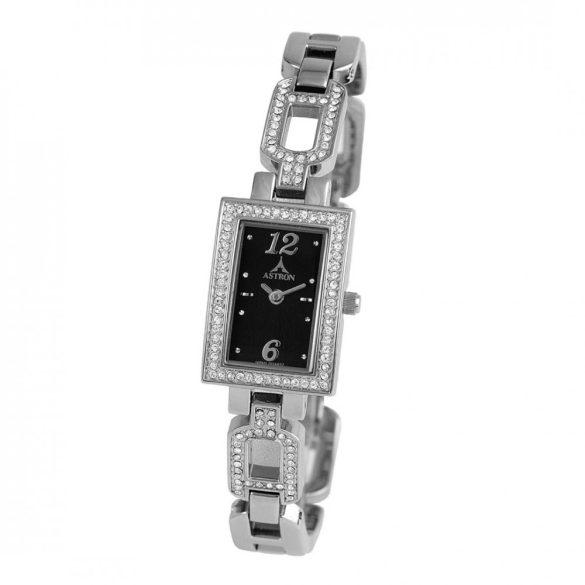 ASTRON 5724-1 női karóra, ezüst színű fém tok, ezüst színű fémcsat, fekete számlap, keményített ásványüveg, quartz szerkezet, cseppmentes vízállóság