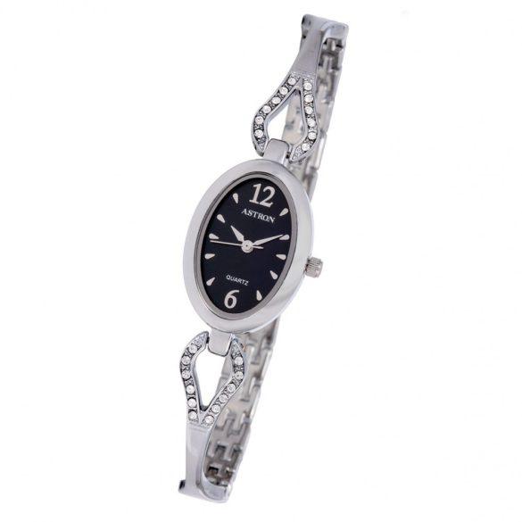 ASTRON 5747-1 női karóra, ezüst színű fém tok, ezüst színű fémcsat, fekete számlap, keményített ásványüveg, quartz szerkezet, cseppmentes vízállóság