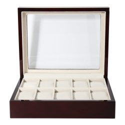 Óratartó doboz, 10 rekeszes, sötétbarna fa, bézs párnás