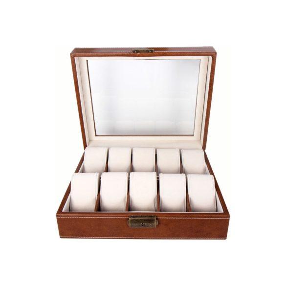 Óratartó doboz, 10 rekeszes, barna (PU bőr, drapp, párnás)