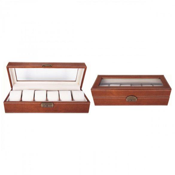 Óratartó doboz, 6 rekeszes, barna (PU bőr, bézs, párnás)