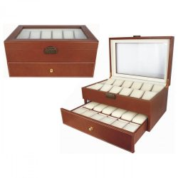 Óratartó doboz, 18-24 rekeszes, barna, bézs, párnás