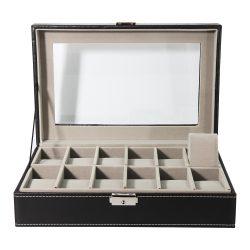 Óratartó doboz, 12 rekeszes, fekete PU bőr külső, szűrke párnás belső