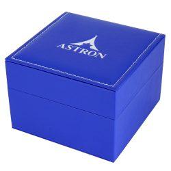 Astron karóra doboz, párnás, kék színű külső, törtfehér színű belső