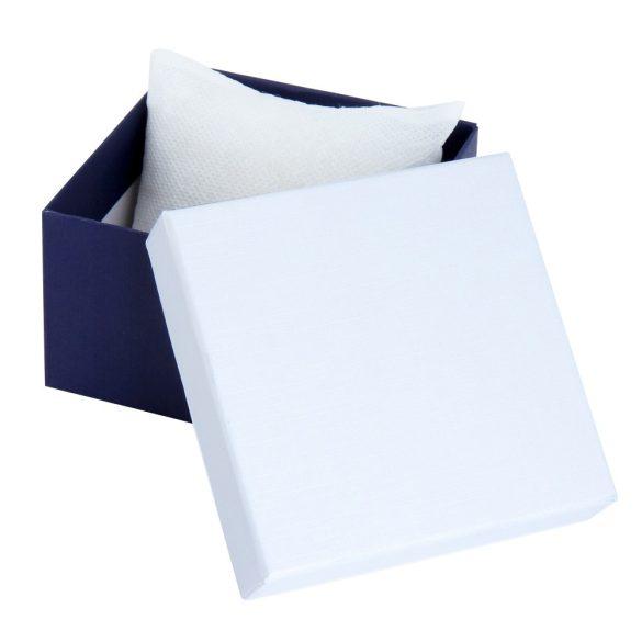 Logo nélküli karóra doboz ,kék/fehér papír borítású, párnás