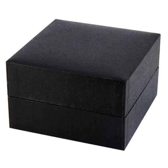 Logo nélküli karóra doboz, fekete papír borítású külső, párnás kialakítású belső