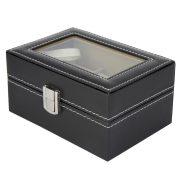 Óratartó doboz, 3 rekeszes, kívűl fekete műbőr borítás, belűl fehér textíl