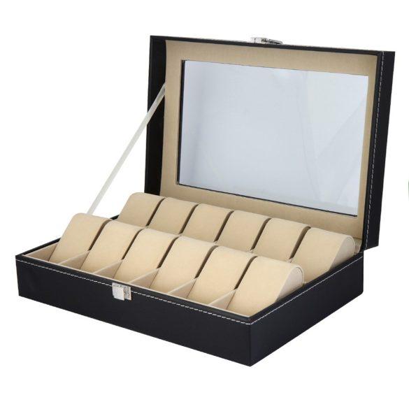 Óratartó doboz, 12 rekeszes, kívűl fekete műbőr borítás, belűl fehér textíl