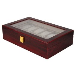 Óratartó doboz, 12 rekeszes, kívűl barna fa felület, belűl fehér textíl