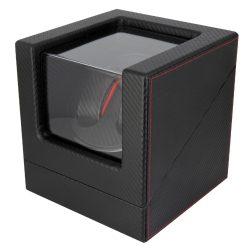 Óraforgató doboz, 2db órához, kívűl fekete műbőrborítású felület, belűl fekete textil