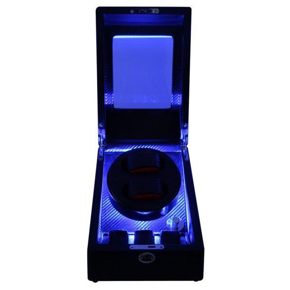 Óraforgató doboz, 2db+3db órához, kívűl fekete műbőrborítású felület, belűl fekete textil