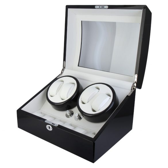 Óraforgató doboz, 4db+6db órához, kívűl fekete fa magasfényű felület, belűl fehér műbőr borítás
