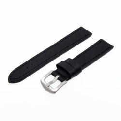 Karóra szíj, sportos varrott dizájn, fekete ezüst színű, mérete 85+125/20 mm XL