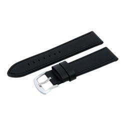 Karóra szíj, fekete színű bőrszíj, 85+125 / 26 mm XL