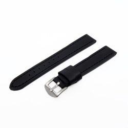 Karóra szíj, sportos varrott dizájn, fekete ezüst színű, mérete 85+125/18 mm XL