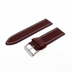 Karóra bőrszíj, varrott dizájn, barna ezüst színű, 75+115 mm/24 mm
