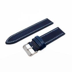 Karóra bőrszíj, varrott dizájn, kék ezüst színű, 75+115 mm/22 mm